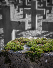 Green Moss On A Stone Cross In A Cemetery.