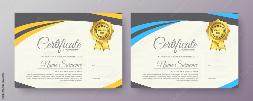 Fototapeta Certificate template blank diploma elegant modern design 2021 creative achievement award gratitude attestation.
