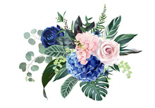 Royal Blue, Navy Garden Rose, Blush Pink Hydrangea Flowers, Thistle