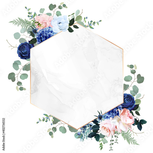 Royal blue, navy garden rose, blush pink hydrangea flowers, anemone, thistle, eu Wallpaper Mural