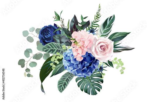 Photo Royal blue, navy garden rose, blush pink hydrangea flowers, thistle