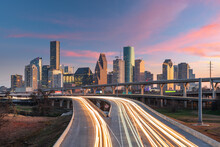 Houston, Texas, USA Downtown Skyline Over The Highways