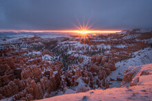 Dawn Glow On Snow Covered Hoodoos  Bryce National Park