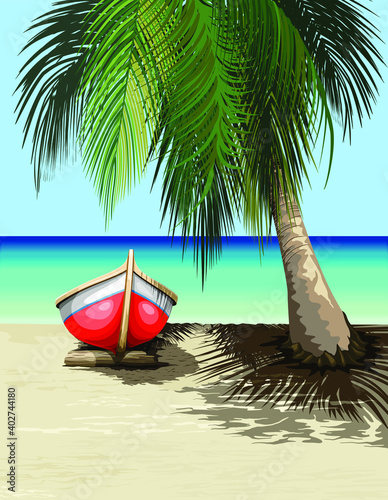 Boat on Sunny Tropical Beach Tranquil Exotic Scenery Vector illustration #402744180