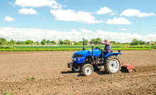 A Farmer On A Tractor With A Mill Unit Crushes And Processes The Soil For Further Sowing With Agricultural Crops. Loosening Surface, Land Cultivation. Plowing Field. Use Of Agricultural Machinery