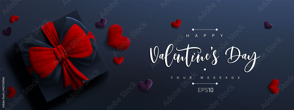 Fototapeta Valentine's day banner background. Vector illustration. 3d gift box with red bow and hearts. Cute love banner or Valentines greeting card.