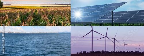 Billede på lærred Collage with photos of water, field, solar panels and wind turbines, banner design