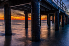 The View From Underneath The Jetty At Sunset, At Coogee Beach, Perth.