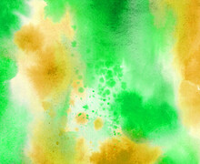 Abstract Watercolor Green And Yellow Hand Painted Gradient Paint Grunge Texture And Color Splash Pattern.