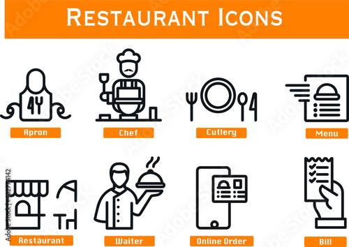 Fototapeta Media icons Restaurant Line Style for website mobile app presentation purposes obraz na płótnie