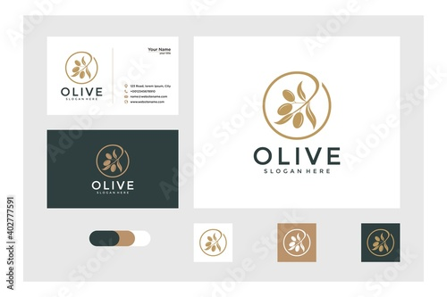 Fototapeta olive logo design and business card obraz