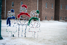 Christmas Carolers Lawn Decor In Snow