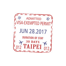 Visa Stamp, Admission To Stay In Taipei 30 Days Isolated. Vector Visa-exempt Permit Template