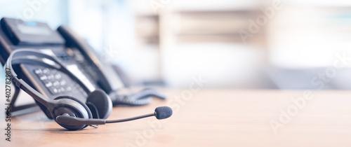 Obraz na plátně Communication support, call center and customer service help desk