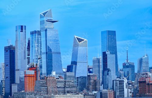 Obraz na plátně Manhattan midtown skyline in December 2020, showing Hudson Yards seen from acros