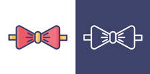 Bow Ties Filled Line And Outline For Your Website Design, Icon, Logo, App. Vector Premium EPS10