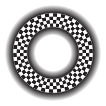 Checkerboard Ring Frame With Graphic Shadows In Black And White