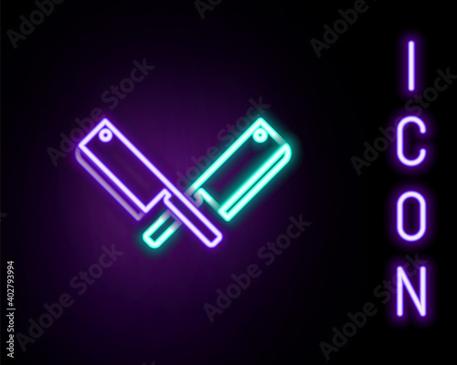 Glowing neon line Crossed meat chopper icon isolated on black background Fotobehang
