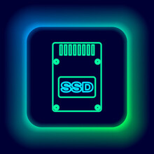 Glowing Neon Line SSD Card Icon Isolated On Black Background. Solid State Drive Sign. Storage Disk Symbol. Colorful Outline Concept. Vector.
