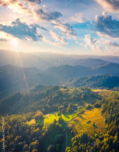 Beautiful summer scenery. Bright morning scene of Carpathian mountains. Wonderful summer view of Snidavka village, Ukraine, Europe. Landscape photography..