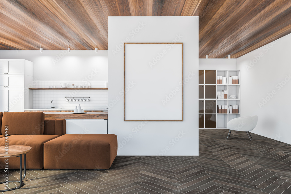 Fototapeta Mockup canvas in living room with sofa, armchair and white kitchen set