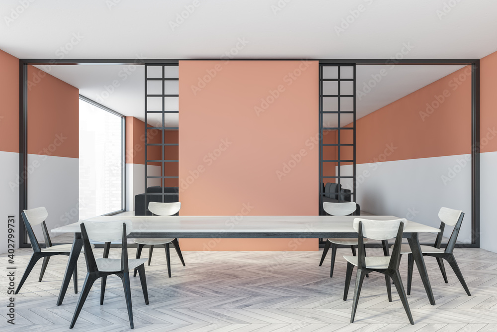 Fototapeta Mockup copy space in white and peach dining room with chairs and table