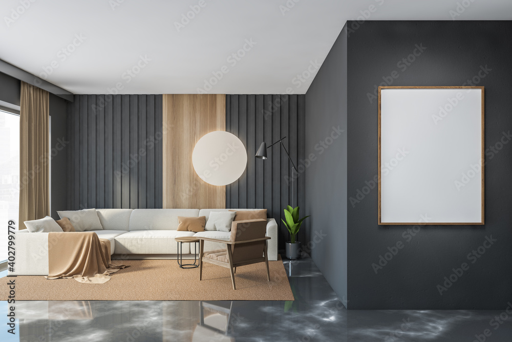 Fototapeta Gray and wooden living room with sofa and poster