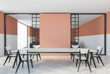 Mockup copy space in white and peach dining room with chairs and table