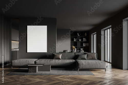 Gray living room with sofa and poster
