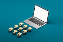 Online Education Concept Over Blue Background