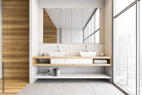 Papel de parede Wooden and white bathroom with two sinks, mirror and big window