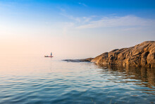 Beautiful Scenery Seascape In  Sunrise At Lan Hin Khao Beach, Rayong Province, Thailand