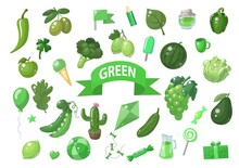 Big Set Of Green Vector Objects Isolated On White. Fruits, Vegetables, Food, Stars, Gifts, Balloon And Other. Good For Color Learning