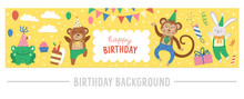 Vector Horizontal Frame With Happy Birthday Elements On Yellow Background. Traditional Party Clipart. Funny Design For Web Banners Or Posters. Cute Festive Holiday Card Template With Cute Animals..