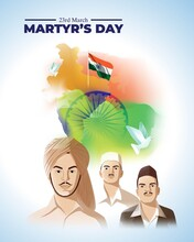 Vector Illustration For Patriotic Concept Banner For Martyr's Day, 23 March With Tricolor Abstract Background