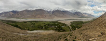 Aerial View Of Buddhist Stupa And Vrang Village In Wakhan Valley, Tajikistan