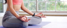 Close Up Of Woman Hand Practice Yoga Meditation Exercise At Home With Copy Space, Yoga Posture Banner