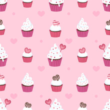 Seamless Surface Repeat Vector Pattern Design With Fluffy White Cupcakes In Pink And Red Cups On A Pink Background With Little Pink Hearts Suitable For Valentine's Day, Weddings And More