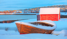 Beautiful Winter Landscape With Old Fishing Red Cabin (boathouse) Boat At Sunset - Red Wooden Boathouse And Boat Covered With Layers Of Snow - Tromso, Norway