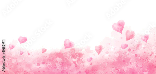 Valentine's day and wedding background design of watercolor hearts vector illust Fototapeta