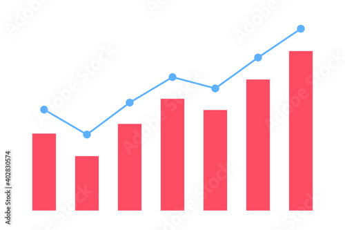 Photo 上昇傾向の折れ線グラフと棒グラフ