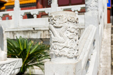 Chinese Traditional Culture, Ancient Chinese Marble Guardrail With Ornamental Dragon Carving, Ornamental Column In Front Of New Yuan Ming Palace, Zhuhai, China