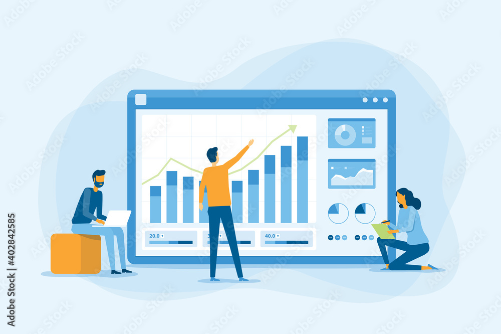 Fototapeta flat business team working analytics and monitoring research on web report dashboard monitor and business finance investment concept
