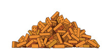 Pile Of Bricks. Building Material. Heap Of Construction Garbage. Vector Illustration Colored Isolated On White.