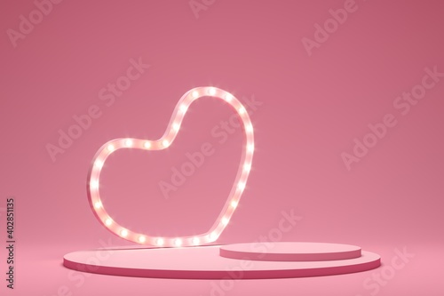 Obraz Abstract background minimal style for branding product presentation on Valentine's day. Mock up scene with empty space. 3d rendering - fototapety do salonu