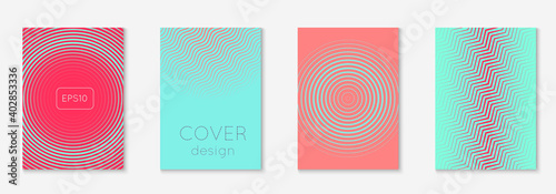 Obraz Poster design modern. Pink and turquoise. Colorful mobile screen, flyer, booklet, report layout. Poster design modern with minimalist geometric lines and shapes. - fototapety do salonu