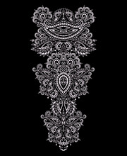 Neckline Ethnic Design. Floral White And Black Traditional Pattern. Vector Print With Decorative Elements And Paisley For Embroidery, For Women's Clothing.
