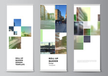 Vector Layout Of Roll Up Mockup Design Templates For Vertical Flyers, Flags Design Templates, Banner Stands, Advertising Design Mockups. Abstract Project With Clipping Mask Green Squares For Your