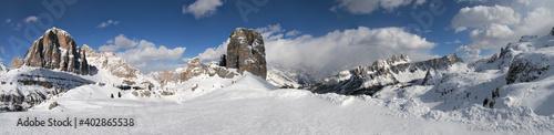 Fotografie, Obraz Beautiful winter landscape in the Cortina d'Ampezzo Dolomites