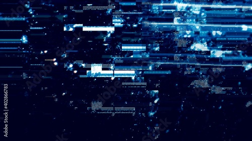 Defected Blue HUD interface 3D Illustration with abstract digital code Fotobehang